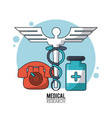 color poster medical research with icons medical vector image vector image