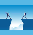 conflict concept businessmen pulling rope over vector image