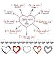 Declarations of love in different languages vector image vector image
