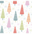 decorative christmas trees seamless pattern vector image vector image