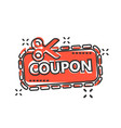 discount coupon icon in comic style scissors with vector image