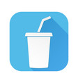 drink with straw white sign on blue square icon vector image vector image