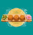 full moon mooncakes at mid autumn festival card vector image vector image