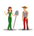 gardeners with shovels flat vector image vector image