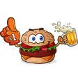 hamburger cheeseburger sports fan cartoon vector image vector image