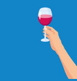hand holding a glass red wine template vector image