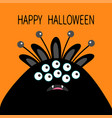 happy halloween card monster head with ears fang vector image