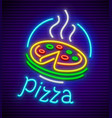italian pizza neon sign vector image vector image