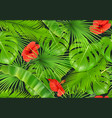 jungle foliage seamless pattern 3d realistic vector image vector image
