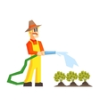 Man Watering The Garden Bed With Hose vector image vector image