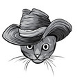monochromatic sketch a stylized kitten s vector image vector image