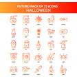 orange futuro 25 halloween icon set vector image