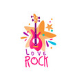 original music logo template with electric guitar vector image vector image