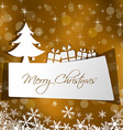 paper Christmas card with gift in gold background vector image vector image
