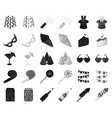 party entertainment blackmonochrome icons in set vector image