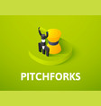 pitchforks isometric icon isolated on color vector image vector image