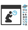 Pray Clock Calendar Page Icon With Bonus vector image vector image