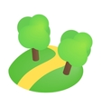 Road with trees 3d isometric icon vector image vector image
