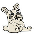 sad gray rabbit is cries vector image