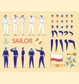 sailor man characters constructor in uniform vector image