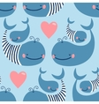 Seamless pattern with cute whales vector image vector image