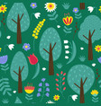 seamless pattern with trees and flowers vector image