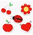 set design sticky elements for scrapbook in red vector image vector image