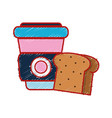 slice bread and coffee with plastic cup beverage vector image vector image