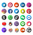 social media logo icon set on circle button vector image