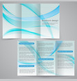 tri-fold business brochure template blue design vector image vector image
