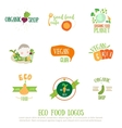 Vegan cafe logo elements on white background vector image