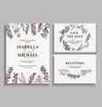 vintage wedding set with greenery vector image