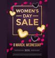 women day sale poster on gold glitter heart vector image