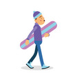 young boy walking with snowboard cartoon character vector image vector image