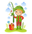 young boy was going fishing vector image vector image