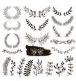 plants doodle border wreath vector image