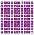 100 park icons set grunge purple vector image vector image