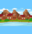 a countryside village scene vector image vector image