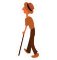 an old man with a hat walks with help his vector image