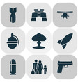 army icons set with bomb bullet binoculars and vector image vector image