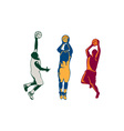 Basketball Player Shooting Retro Collection vector image