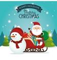 beautiful card happy holidays xmas santa snowman vector image vector image