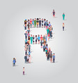 big people crowd gathering in shape letter r vector image vector image