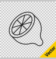 black line lemon icon isolated on transparent vector image vector image