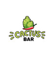 cactus bar logo and chili pepper hand drawn vector image vector image