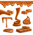 caramel sweets realistic set vector image vector image