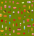 cartoon color wagon track summer food seamless vector image vector image