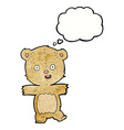 cartoon dancing teddy bear with thought bubble vector image