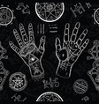 chiromancy seamless background with human hands vector image vector image