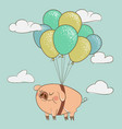 cute pig flying with balloons vector image vector image
